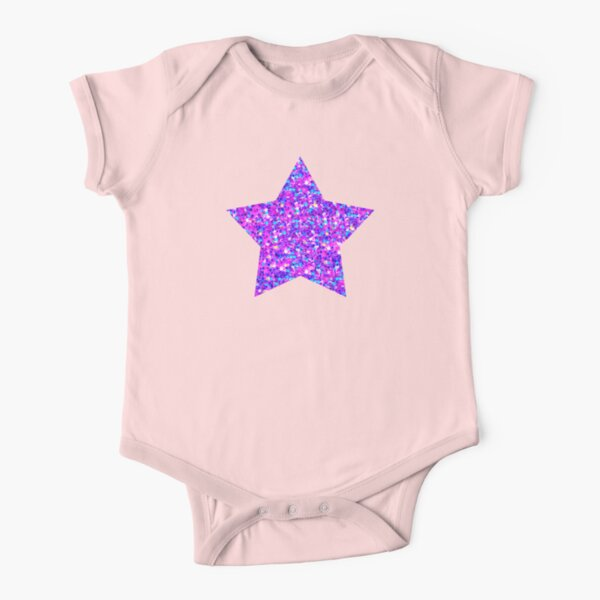 Sparkle Confetti Stars | Multi-color with Fuchsia Tint |  Short Sleeve Baby One-Piece