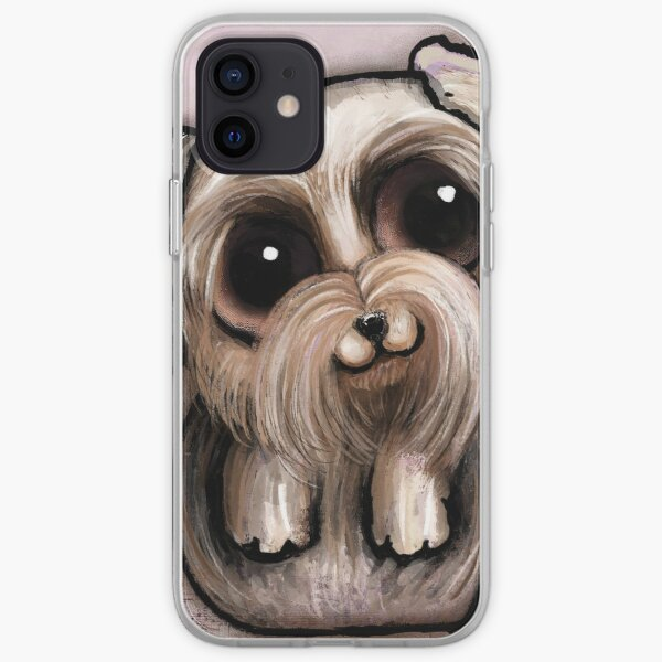 Yorkshire with big eyes and a quote iPhone Soft Case