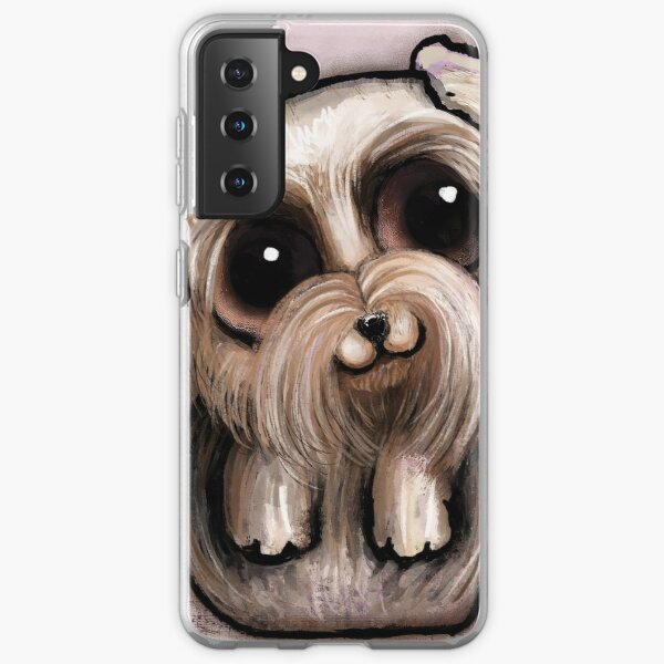 Yorkshire with big eyes and a quote Samsung Galaxy Soft Case