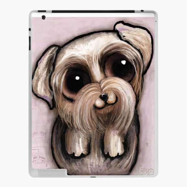 Yorkshire with big eyes and a quote iPad Skin