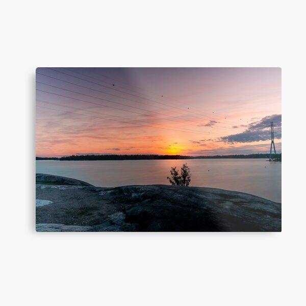 Sunset in Hietaranta Helsinki view Metal Print