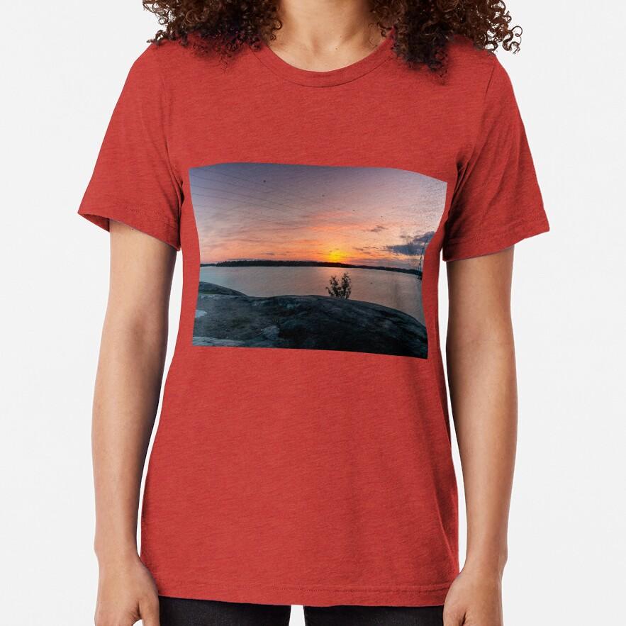 Sunset in Hietaranta Helsinki view Tri-blend T-Shirt