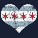 Vintage Chicago Flag Heart by iEric