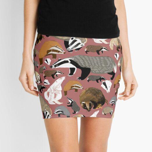 Eurasian badgers pattern Pink Mini Skirt