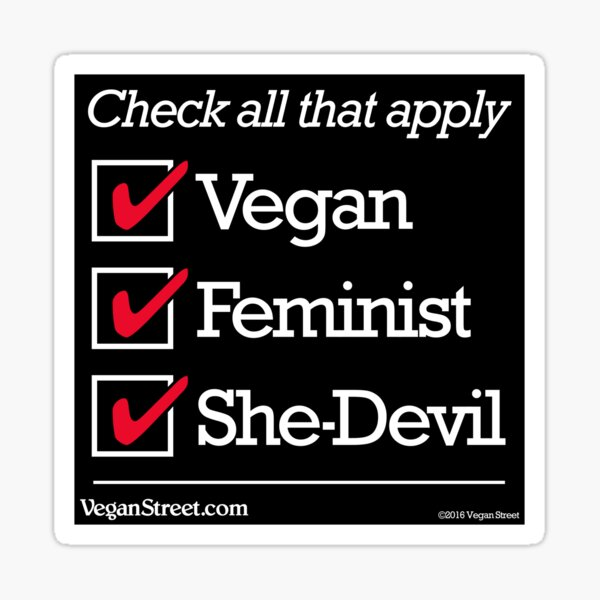 Vegan Feminist She-Devil Sticker