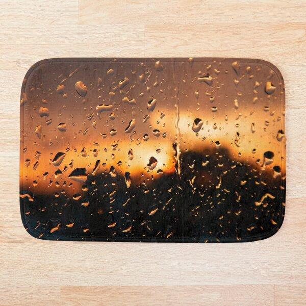 Sunset, raindrops on glass, sunset Bath Mat