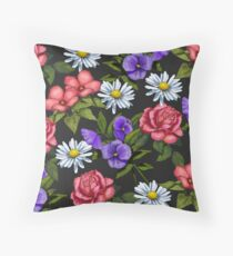 A Riot of Flowers: Daisies, Pink Roses, Pansies, Floral Art Throw Pillow