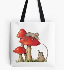 Two Mice and Red Toadstools, Color Pencil Artq Tote Bag