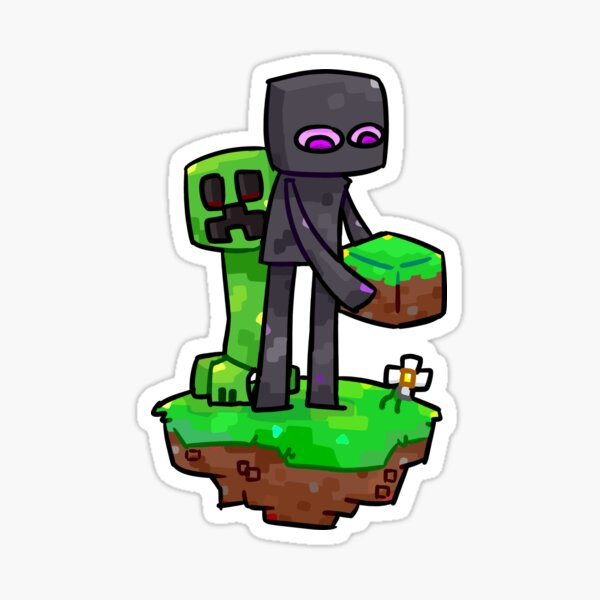 Minecraft Creeper and Enderman Sticker