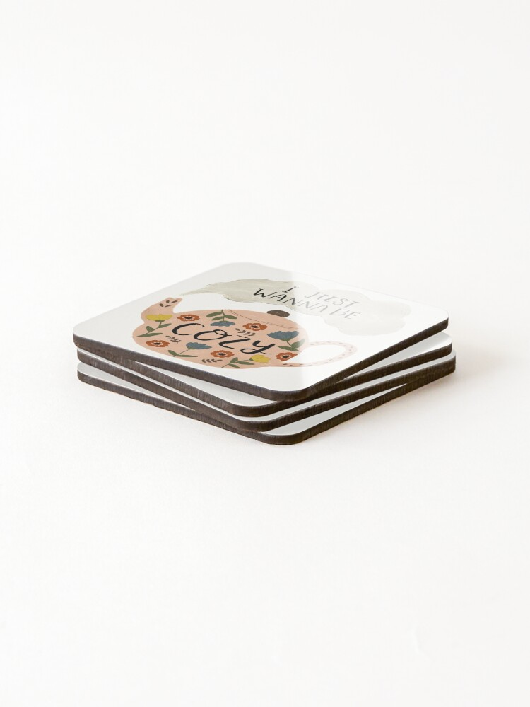 Alternate view of 'I Just Wanna Be Cozy' Floral Teapot Coasters (Set of 4)