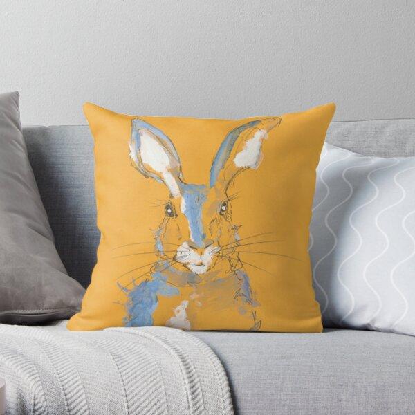 Mustard Blue Summer Hare Throw Pillow