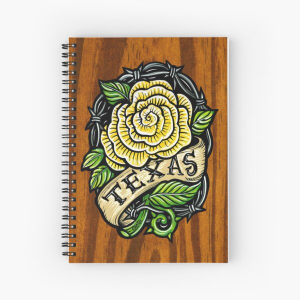 Texas Rose Wood Spiral Notebook