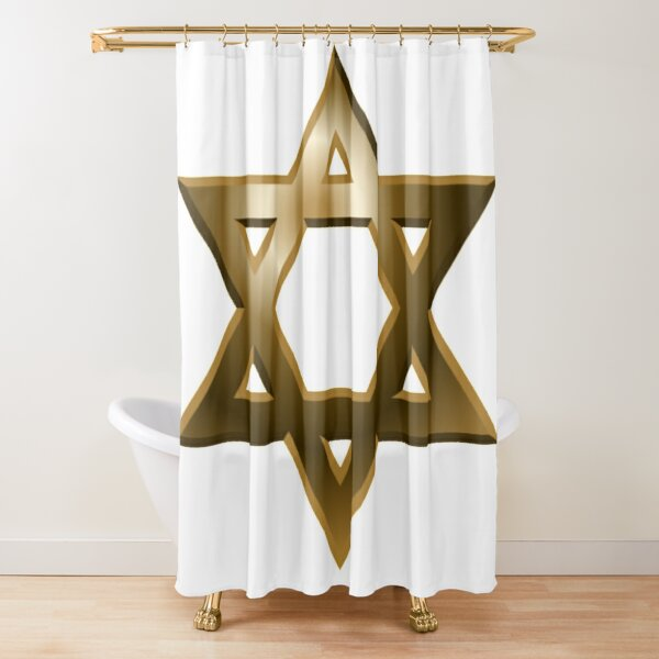 #Star of #David #Kippah Shower Curtain
