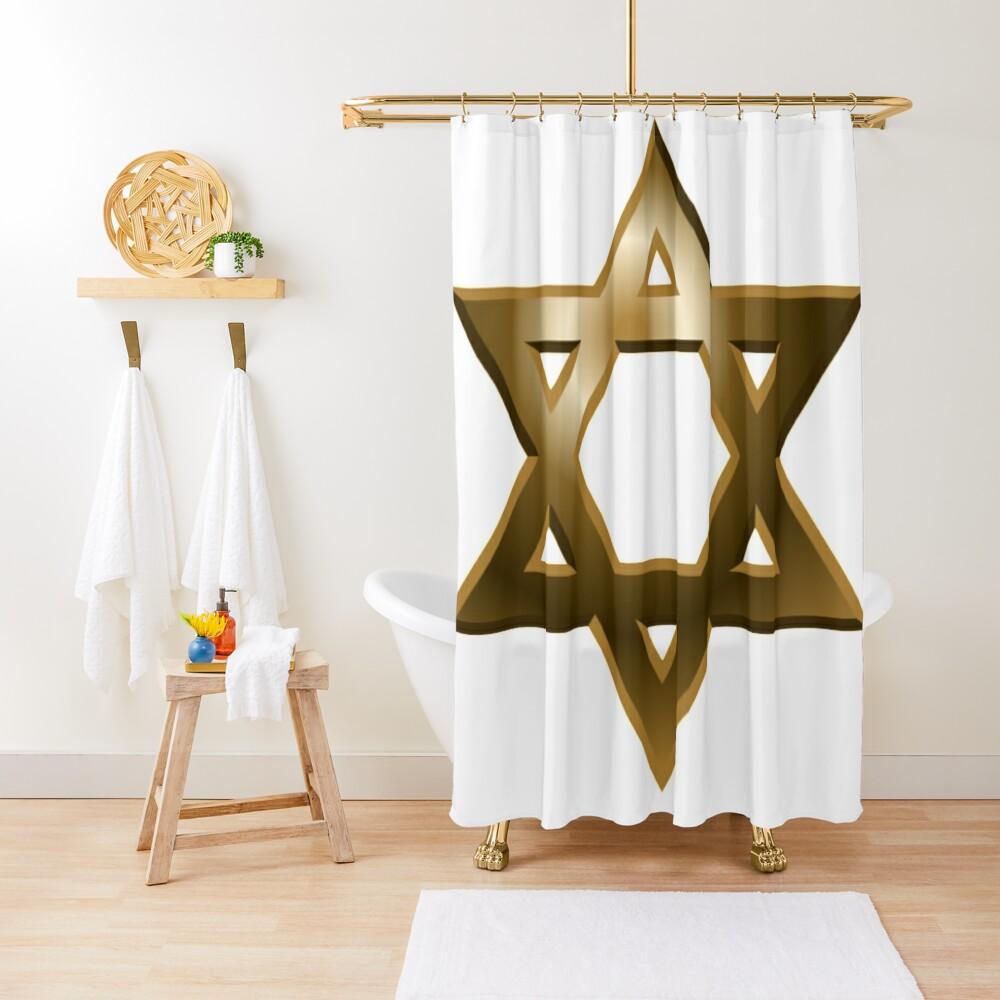 #Star of #David #Kippah Shower Curtain