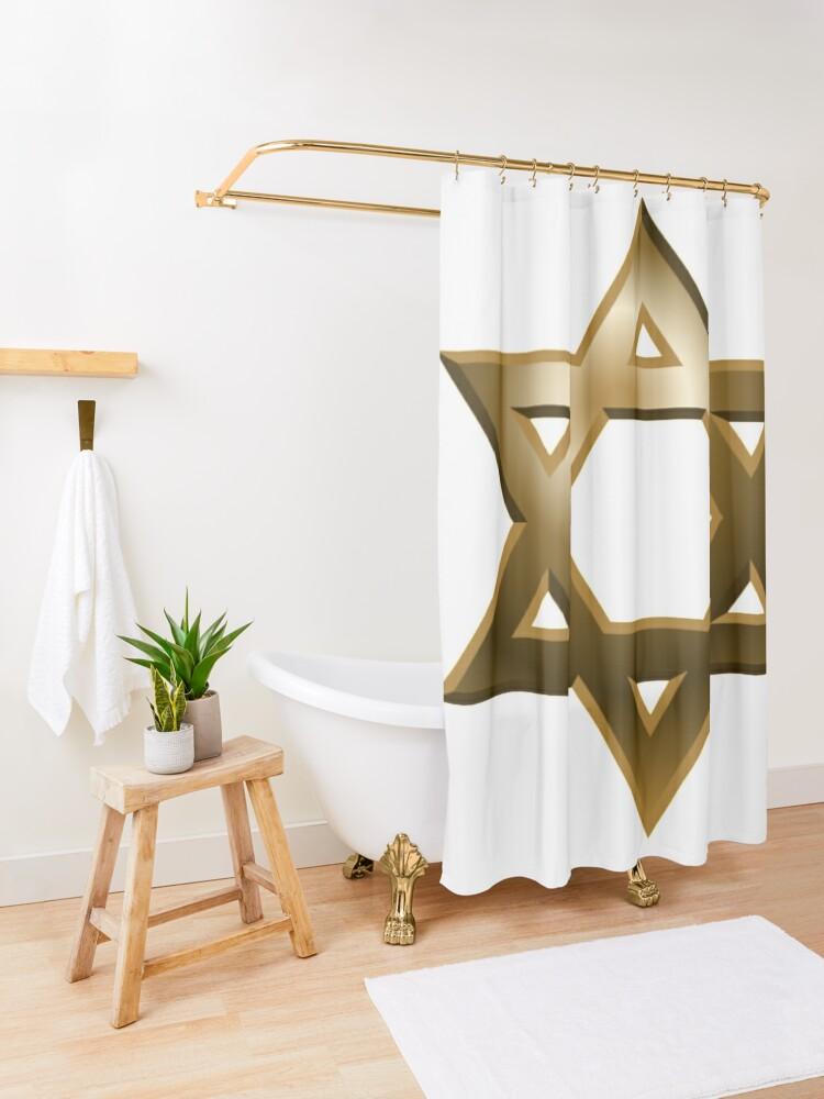 Alternate view of #Star of #David #Kippah Shower Curtain