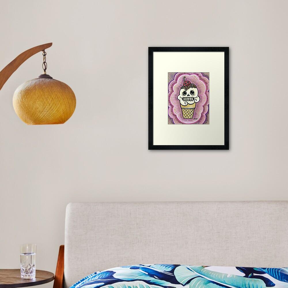 Ice Cream in Pink Framed Art Print