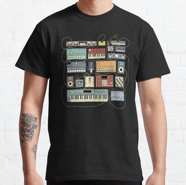 Musicien électronique synthétiseur et boîte à rythmes Dj T-shirt classique