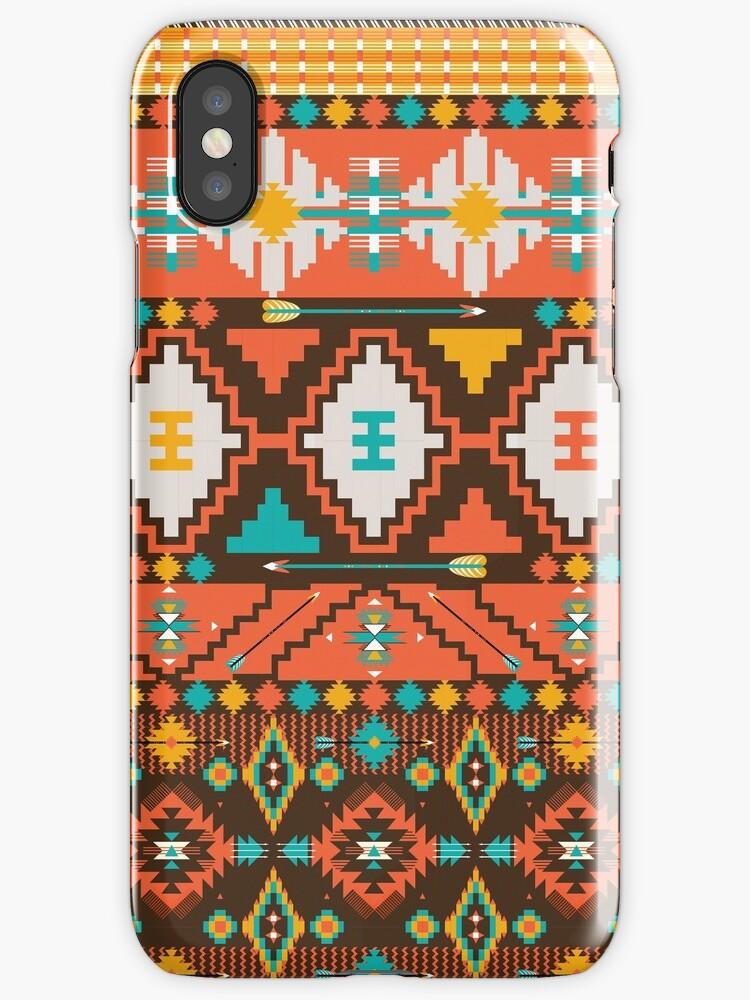 Aztec geometric seamless  colorful pattern by Olena Syerozhym
