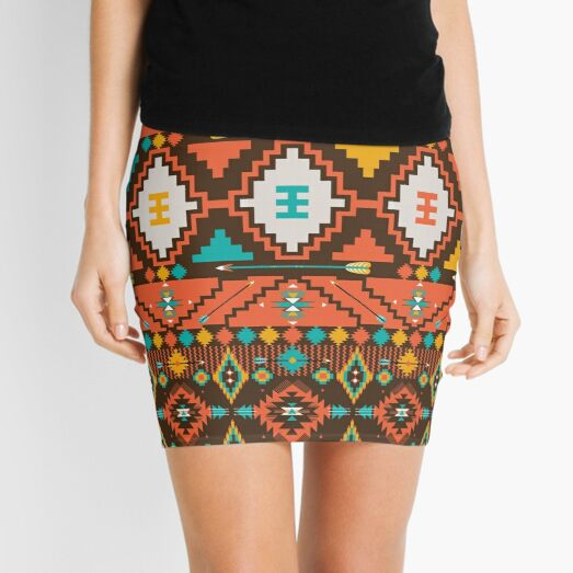 Aztec geometric seamless  colorful pattern Mini Skirt