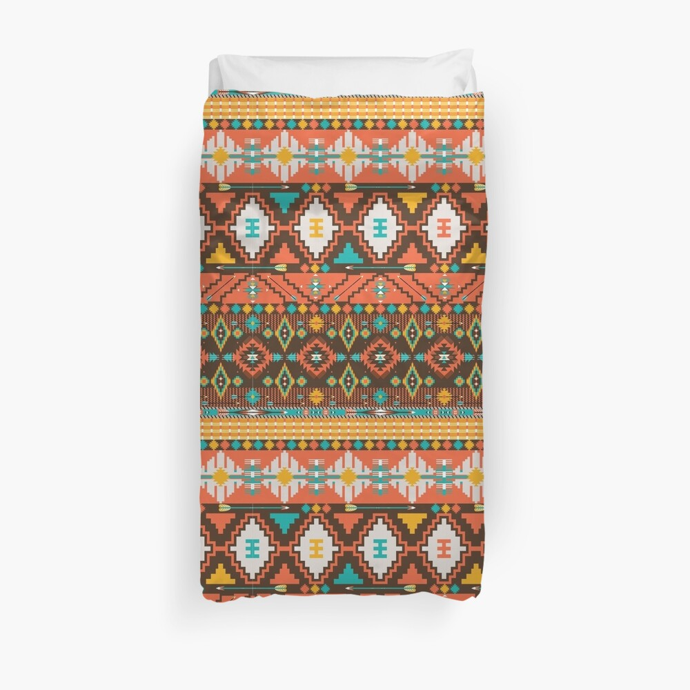 Aztec geometric seamless  colorful pattern Bettbezug