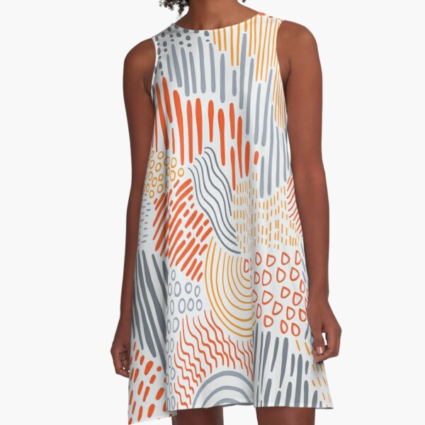 Doodle Handdrawn Abstract Pattern A-Line Dress