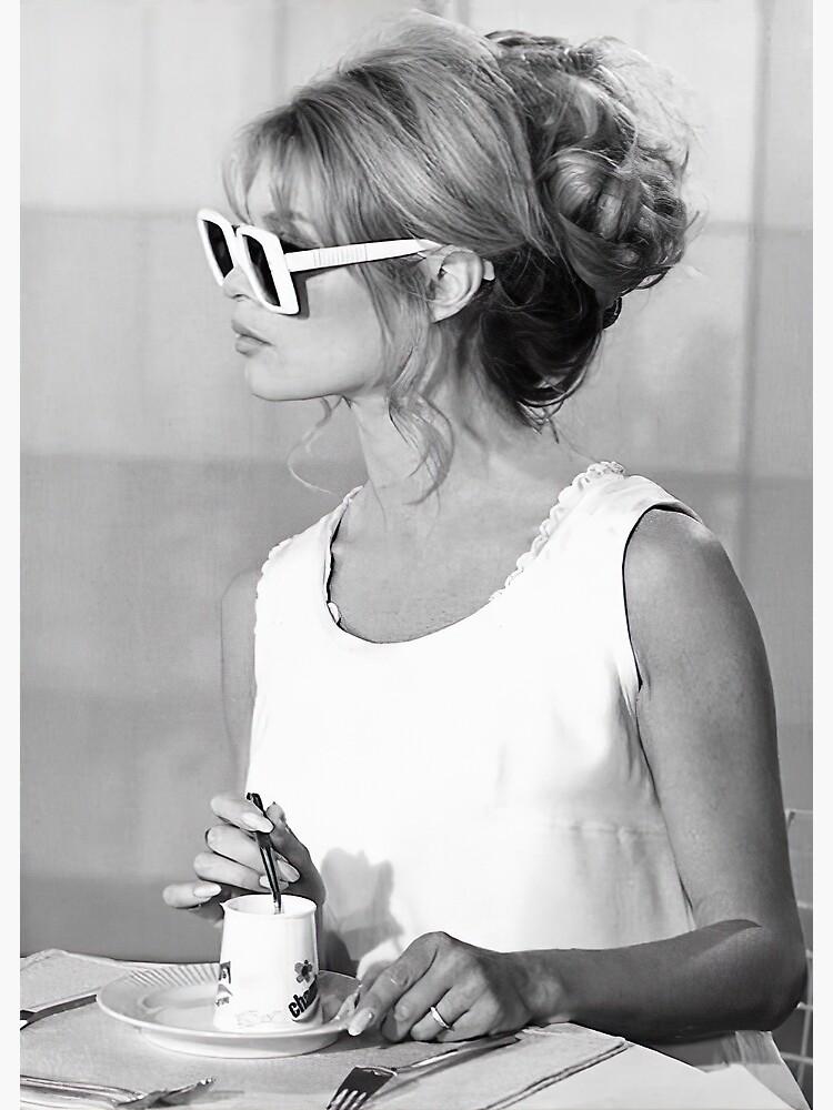 "Brigitte Bardot Wearing Sunglasses and Drinking Tea Vintage Photo"" Greeting Card by modernretro | Redbubble"