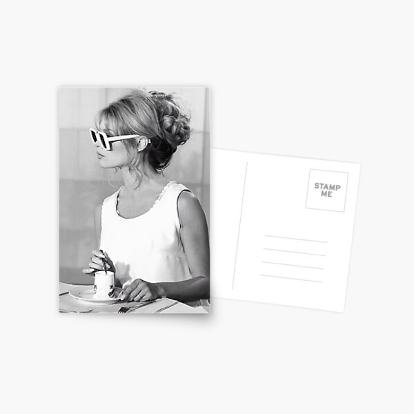 Brigitte Bardot Wearing Sunglasses and Drinking Tea Vintage Photo Postcard