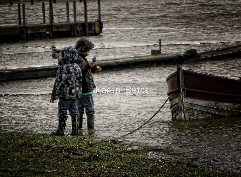 Splish splash, (kids enjoying the tide) by Karen  Betts