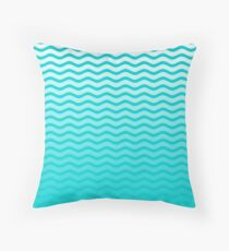 Dark Turquoise and White Faded Chevron Wave Floor Pillow