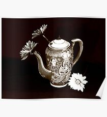 pitcher of flowers3-full B&W sepia Poster