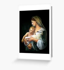 Madonna and Child: After Bougeureau, Original Oil Pastel Greeting Card