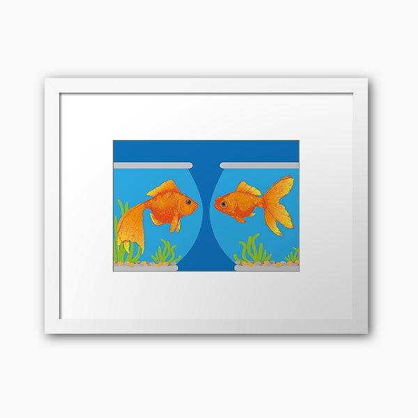 Two Little Goldfish in their Fish Bowls | Vintage Goldfish |  Framed Art Print