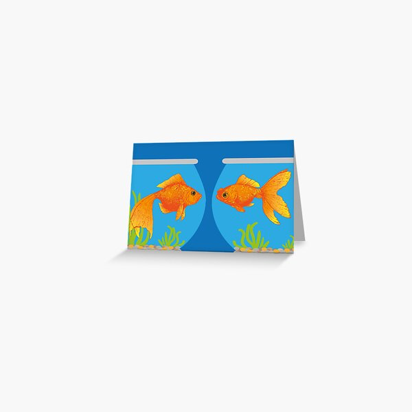 Two Little Goldfish in their Fish Bowls | Vintage Goldfish |  Greeting Card
