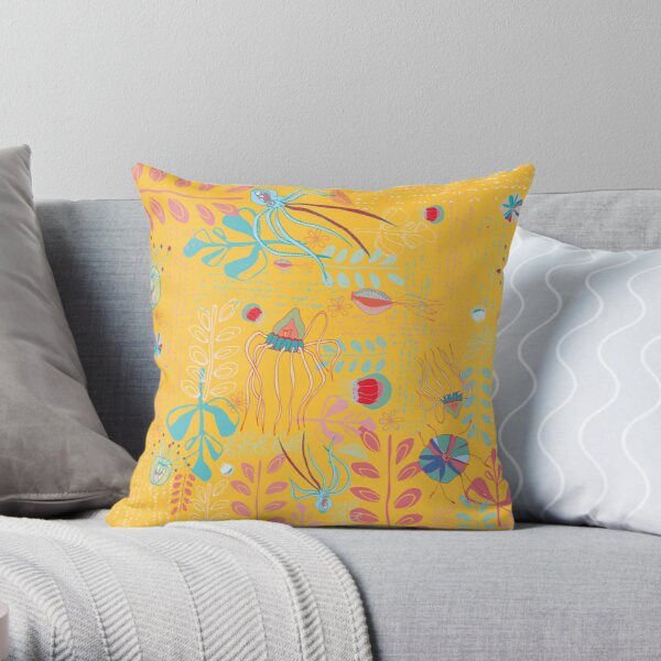 Sea Creatures - Yellow Throw Pillow