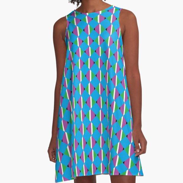 #Pattern, #design, #abstract, #textile, tile, square, mosaic, decoration, illusion, shape A-Line Dress