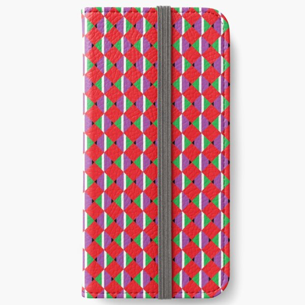 #Pattern, #design, #abstract, #textile, tile, square, mosaic, decoration, illusion, shape iPhone Wallet