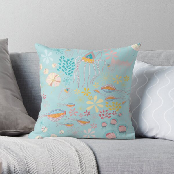 The Gathering - Aqua Throw Pillow