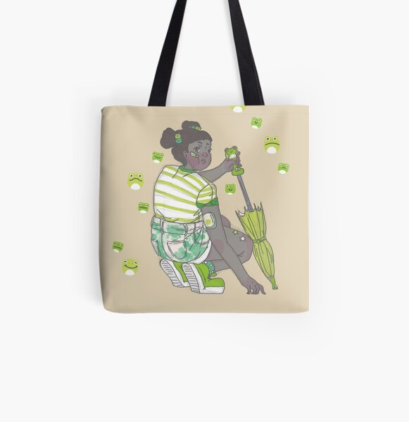 Frogs and Summer Rain All Over Print Tote Bag