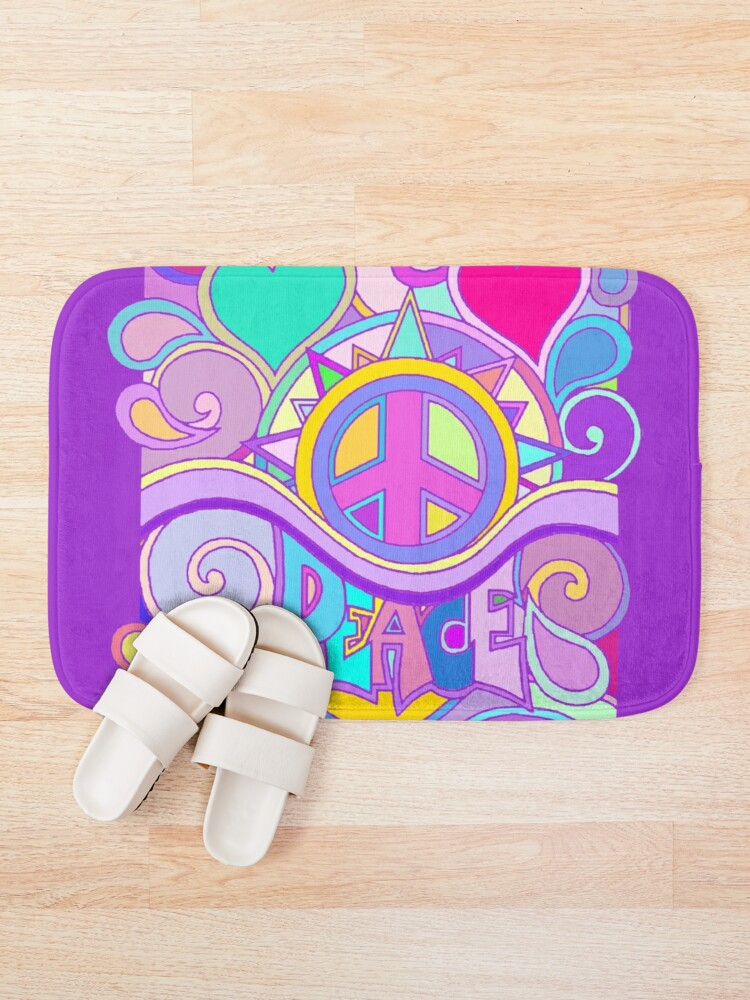 Alternate view of Psychedelic Hippy Retro Peace Art Bath Mat