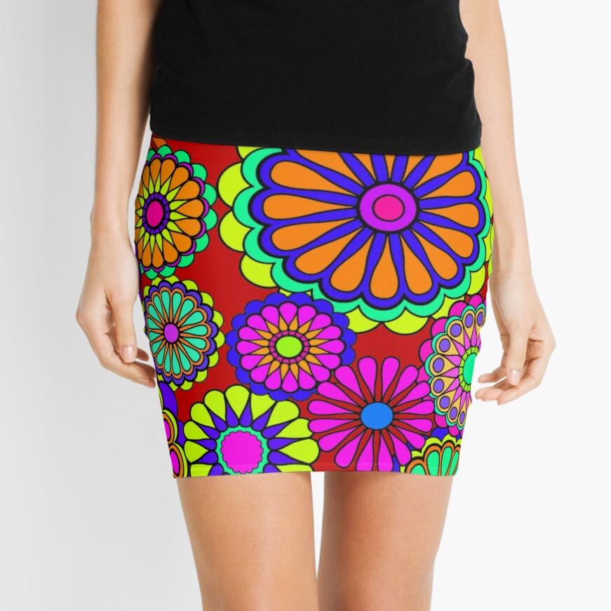 Flower Power Retro Style Hippy Flowers Mini Skirt