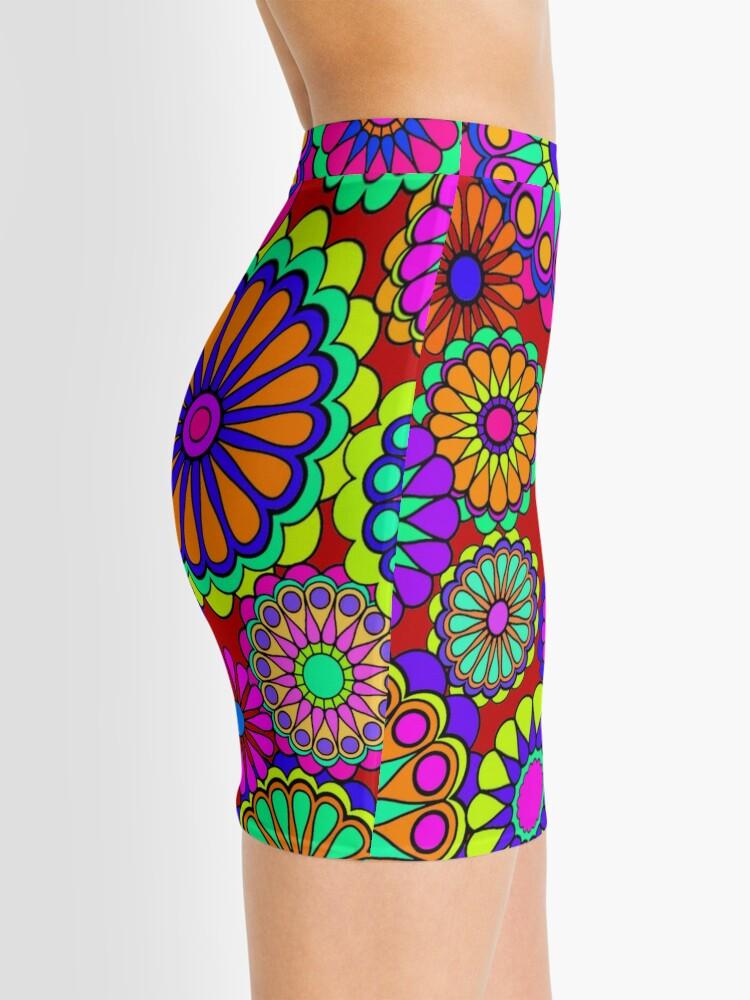 Alternate view of Flower Power Retro Style Hippy Flowers Mini Skirt