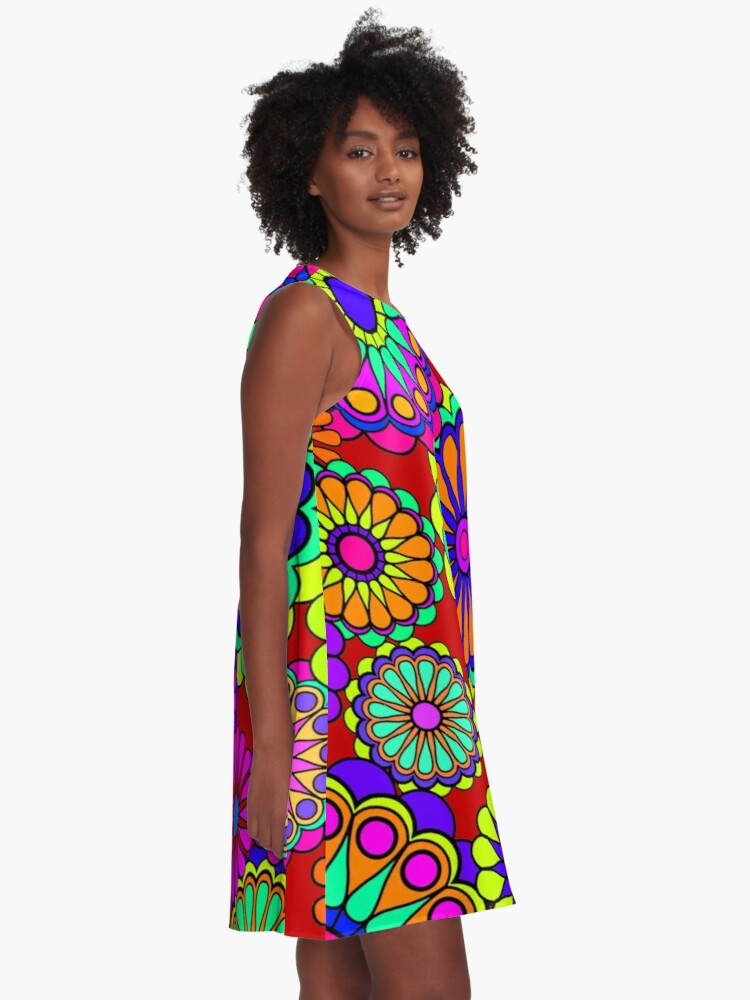 Alternate view of Flower Power Retro Style Hippy Flowers A-Line Dress