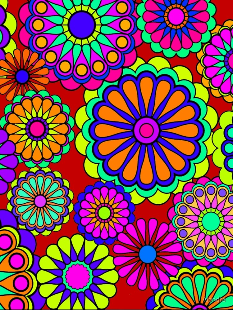 Flower Power Retro Style Hippy Flowers by Alondra