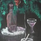 Still Life with Fern, Wine, and cigarette by tusitalo