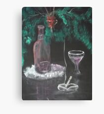 Still Life with Fern, Wine, and cigarette Canvas Print