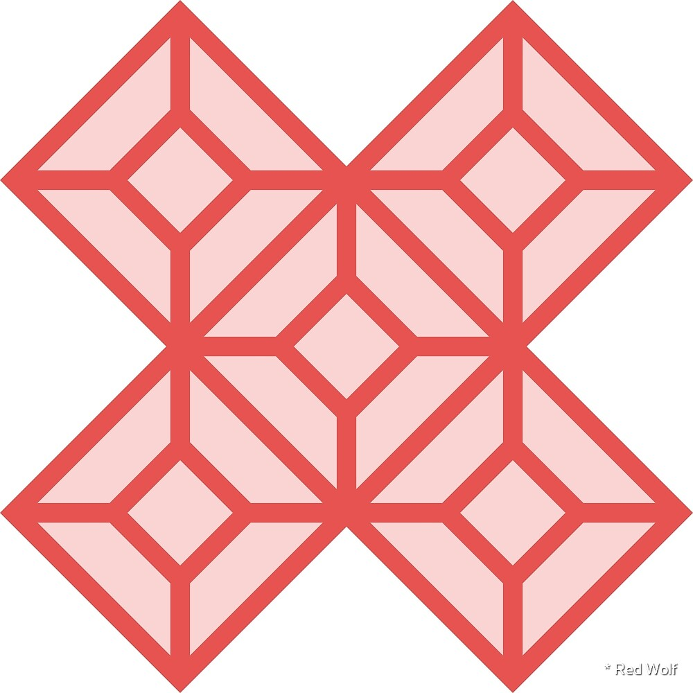Geometric Pattern: Diamond Tile: Light Red by * Red Wolf