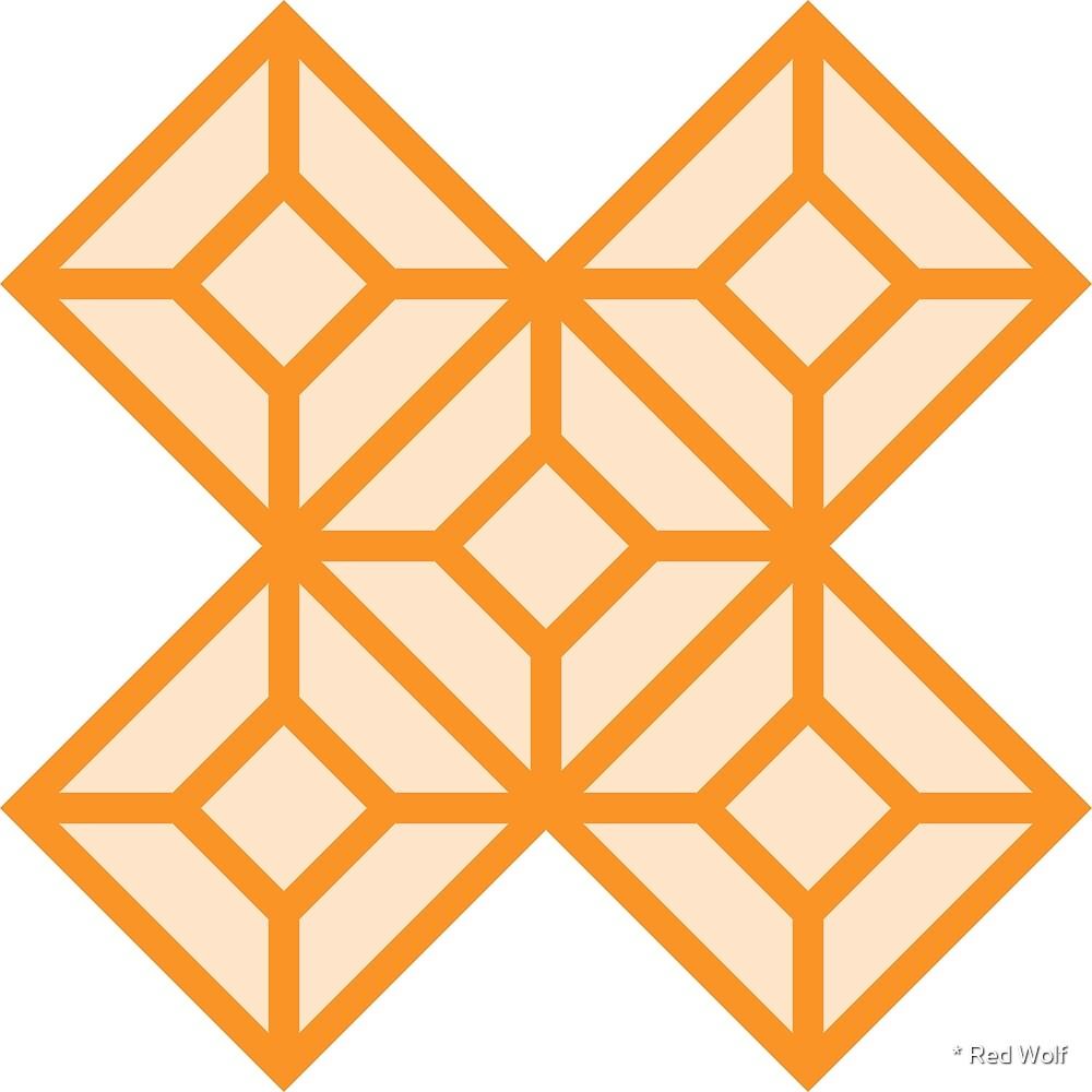 Geometric Pattern: Diamond Tile: Light Orange by * Red Wolf