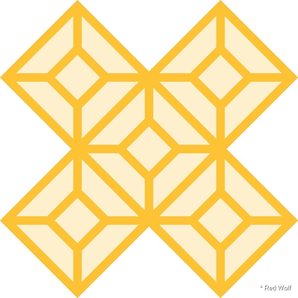 Geometric Pattern: Diamond Tile: Light Yellow by * Red Wolf