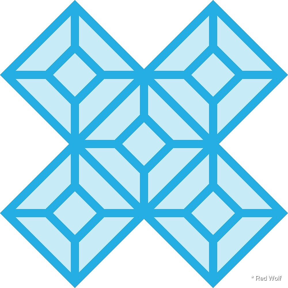 Geometric Pattern: Diamond Tile: Light Blue by * Red Wolf
