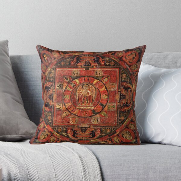 Buddhist thanka. You can also see the scars Throw Pillow
